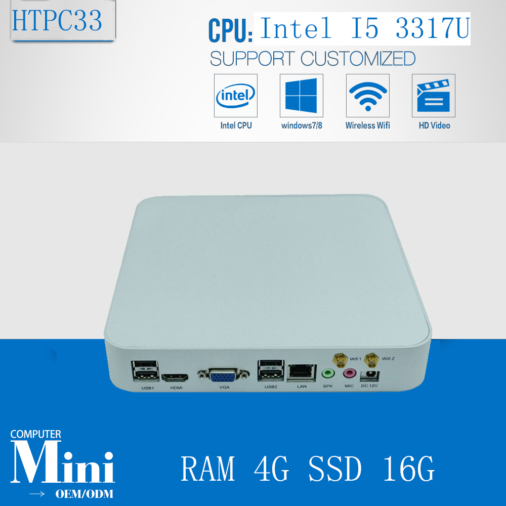 HTPC Intel Dual Core i5 3317u 1.7 ГГц 4 К безвентиляторный промышленный мини Box PC с 4 com порта Оперативная память 4 г SSD 16 г