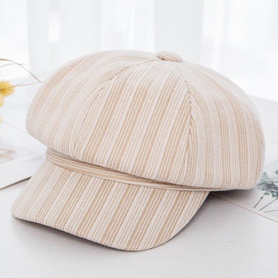 COKK Cotton Octagonal Hat Autumn Winter Hat Women British Style Retro Stripes Berets Newsboy Cap Women Vintage Bonnet Gorras New in Men 39 s Newsboy Caps from Apparel Accessories