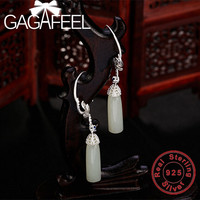 GAGAFEEL Pure 925 Sterling Silver Leaf Earrings with White Stone Drop Earrings for Women Dropship Retro Jewelry High Quality