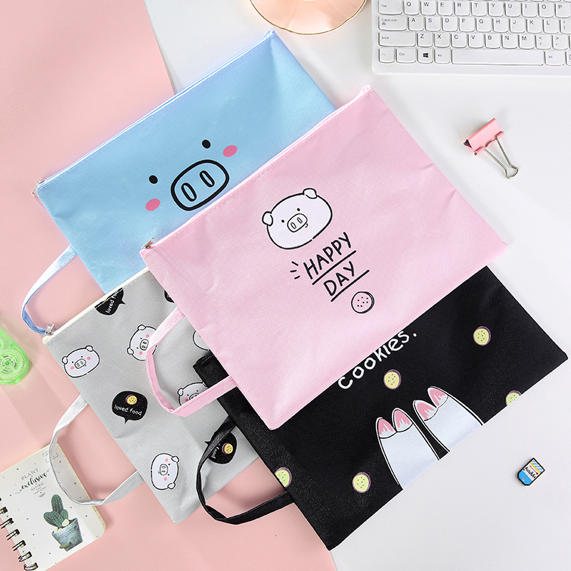 1 PCS Cartoon Pig A4 File Bag Document Bag File Folder Stationery Filing Production Oxford Cloth Storage Bag For Notebooks