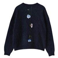 Sweaters Elegant Sweater Women 2017 Fashion Winter Autumn Rose Embroidery Warm Imitation Mink O Neck Pullover