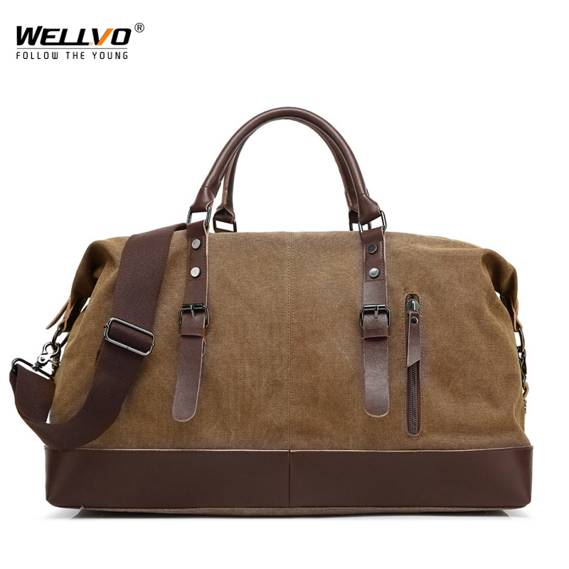Canvas Leather Men Travel Bag Carry on Luggage Duffel Bags Large Travel Tote Patchwork Weekend Crossbody