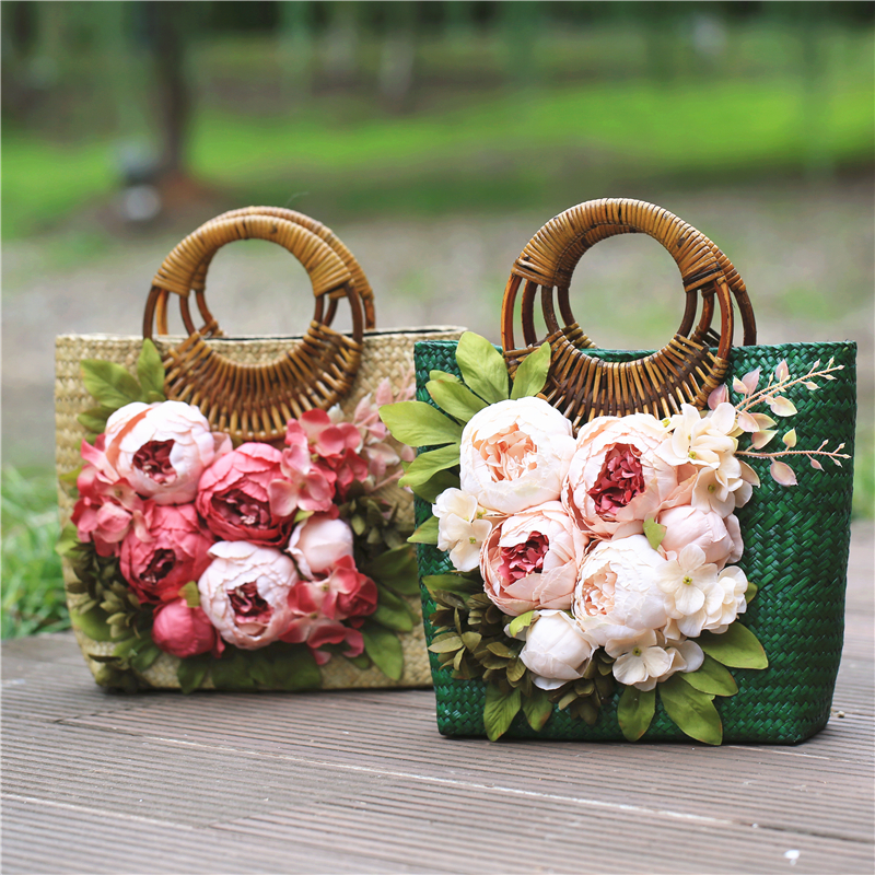 Sacs à main en paille florale pour femmes sacs de plage à fleurs vertes d'été sac à main en rotin tissé rétro pour vacances de voyage