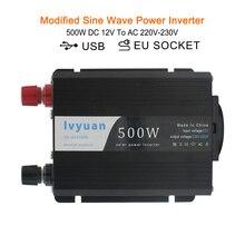 1000W DC 12V to AC 220V-240V Portable Car Power Inverter Charger Converter Transformer Vehicle Power Supply EU socket dual USB