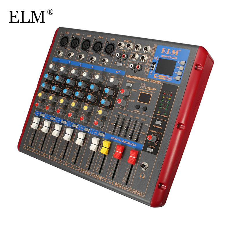 elm high quality professional sound mixer 6 channels with bluetooth usb dsp dj audio digital. Black Bedroom Furniture Sets. Home Design Ideas