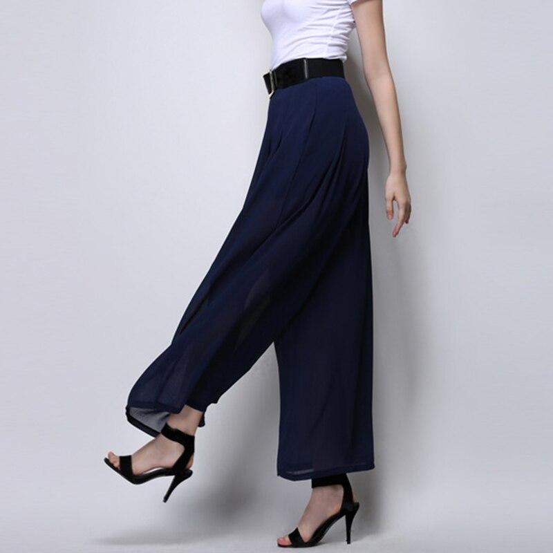 2015 Women High Waist Black Chiffon Wide Leg Dress Pants Summer
