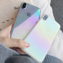 NJIEER Phone Case For iPhone X XS Max XR Funny Water Drop Cover Colorful Gradient Rainbow Cover Cases For iPhone 8 7 6 6s Plus