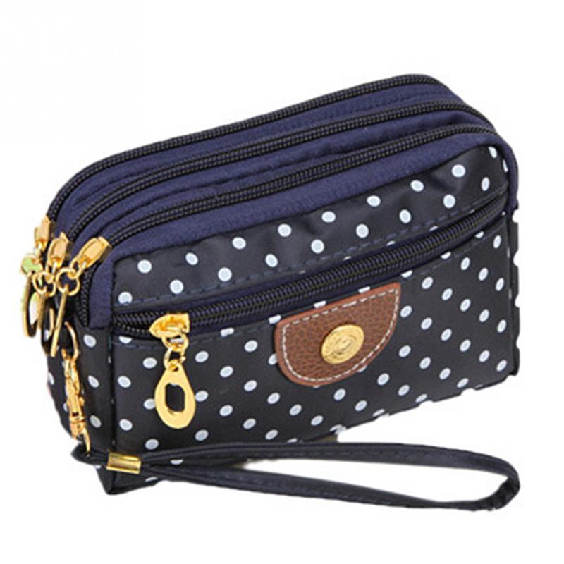 Polka Dots Print Women Coin Purse Clutch Wristlet Wallet Bag Phone Key Case Makeup Bag Women Credit Card Holder Tote