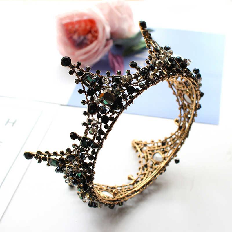 ... Vintage Baroque Round Tiara Black Rhinestone Beads Crowns Hairband  Royal Queen Headband for Women Party Wedding ... e980a4eac914