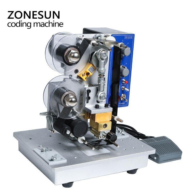 ZONESUN półautomatyczne na gorąco maszyna drukarki kodowania wstążki data charakter Hot drukarka kodów HP-241 maszyna do kodowania daty