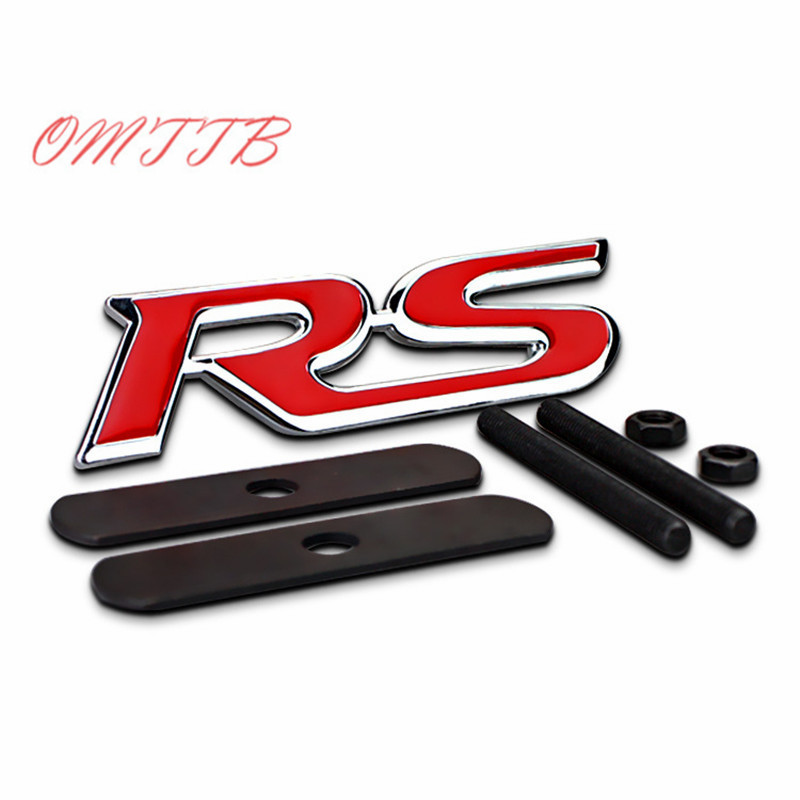 3D Metal RS Emblem Badge Car Styling for Ford Focus Chevrolet Cruze Kia Rio Skoda Octavia Mazda VW Hyundai Opel car styling 3d ss car front grille emblem badge stickers accessories styling for jaguar honda chevrolet camaro cruze malibu sail captiva kia