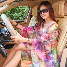 Summer Sun protection clothing chiffon capes printed loose shawl female thin beach Scarves scarf cardigan sexy Bikini cover up