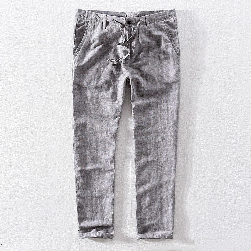 New Top Quality Men's Summer Casual Pants Natural Cotton Linen Trousers White Linen Elastic Waist Straight Men's Pant