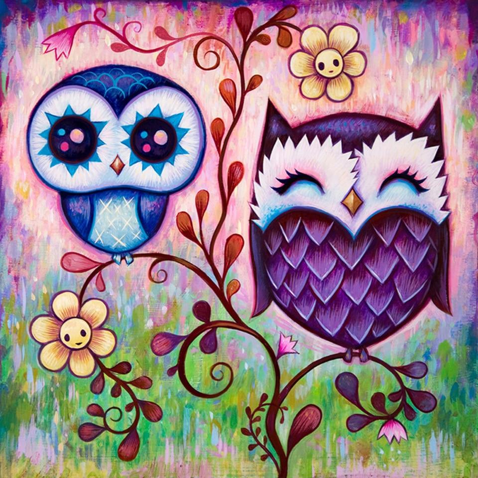Round Diamond Painting Purple Owl