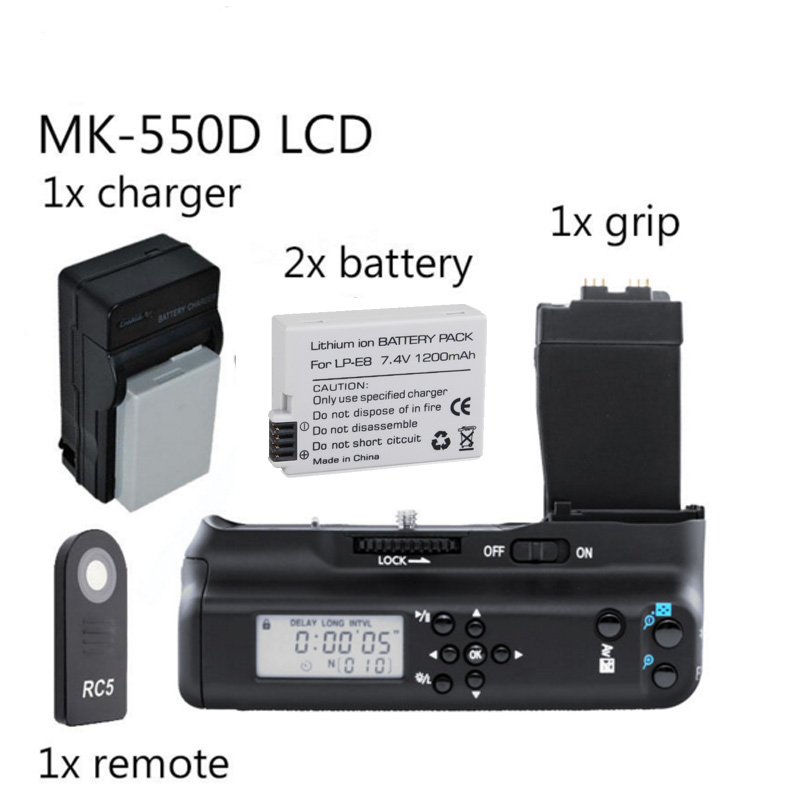 Meike MK-550DL Battery Grip with lcd For Canon 550D 600D 650D 700D BG-E8 + 2x LP-E8 batteryMeike MK-550DL Battery Grip with lcd For Canon 550D 600D 650D 700D BG-E8 + 2x LP-E8 battery