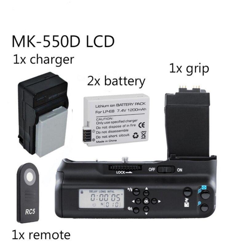 Meike MK-550DL Battery Grip with lcd For Canon 550D 600D 650D 700D BG-E8 + 2x LP-E8 battery