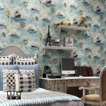 Free Shipping Mediterranean Style Blue Ocean Sailing Wallpaper Kids Room Navigation Chart Wallpaper Bedroom wallpaper