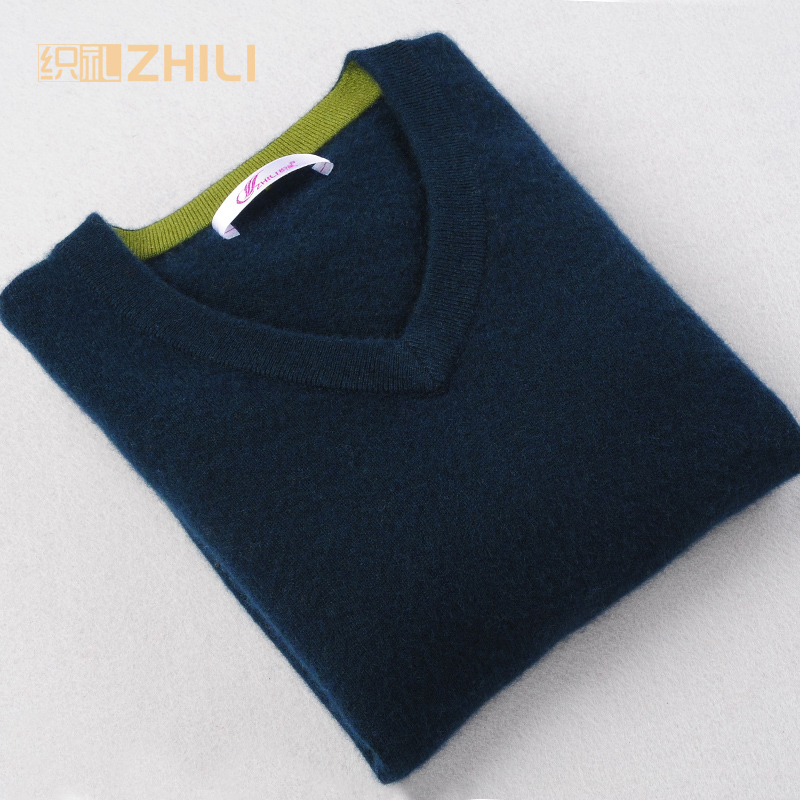 Sweater Man 100% Pure Cashmere Knitted Winter Warm Pullovers V neck Long Sleeve Standard Sweaters Male Jumper 2017