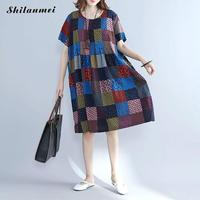 Women Linen T Shirt Summer Dress 2017 plaid printed Chinese style Big Size causal loose Vintage Female Cotton T Shirt Dresses