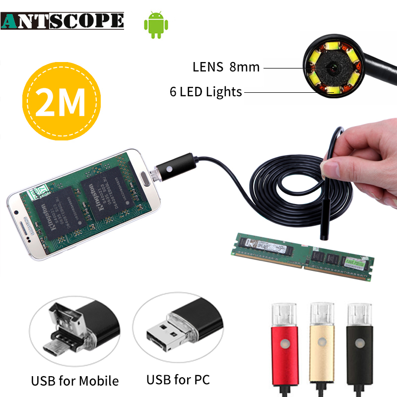 Antscope Endoscope camera lens 8mm  length 2/5/10M OTG PC Endoscopio Mini Endoscope Camera 720P Inspection Phone Borescope Camer