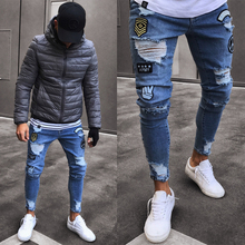 Street wear Frayed Printing Embroidery Biker Jeans Men's Stretchy Ripped Skinny Jeans Destroyed Taped Slim Fit Denim Pants