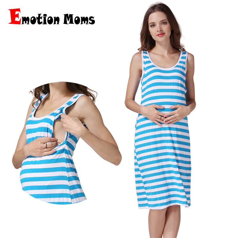 Summer Nursing Dress for Pregnancy Woman Maternity Clothing Striped Pregnant Dress Breastfeeding Sleeveless free shipping