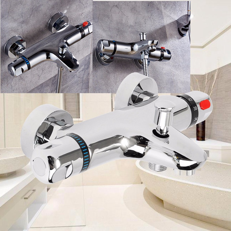 Wall Mounted Bath Shower Ceramic Thermostatic Faucets Valve Bathroom Shower Water Thermostatic Control Valve Mixer Faucet Tap chrome finish dual handles thermostatic valve mixer tap wall mounted shower tap