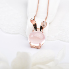New 3D Crystal  anime animal bunny Pendant hare Necklace Cute Smart sign Rabbit small rabbit Choker cat Feline pet necklace