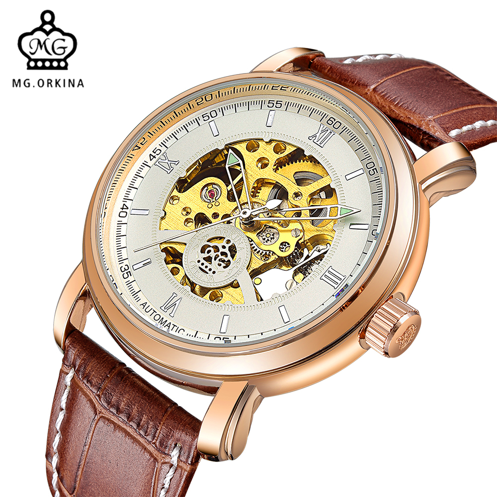 MG. ORKINA Luxury Rose Gold Watch Men Big Dial Automatic Wristwatch Leather Strap Skeleton Mechanical Male Clock 2017 black rose gold winner men watch cool mechanical automatic wristwatch stainless steel band male clock skeleton roman dial