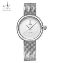Shengke New Women's Wristwatches Luxury High Quality Quartz Watch Silver Alloy Watchband Stainless Steel Case Female Clock 2017