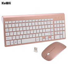 KuWFi 2.4GHz Wireless Keyboard And Mouse Combo URCO Upgraded 102 Keys Ultra Thin For PC Laptop Gaming Home Keyboard Mouse 1Set