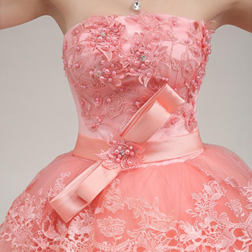 CEEWHY Custom Size Ball Gown Bow Pearl Evening Dress Embroidery Formal  Party Prom Dress Coral Evening Gowns Robe de Soiree-in Evening Dresses from  Weddings ... ec2a9332ac35
