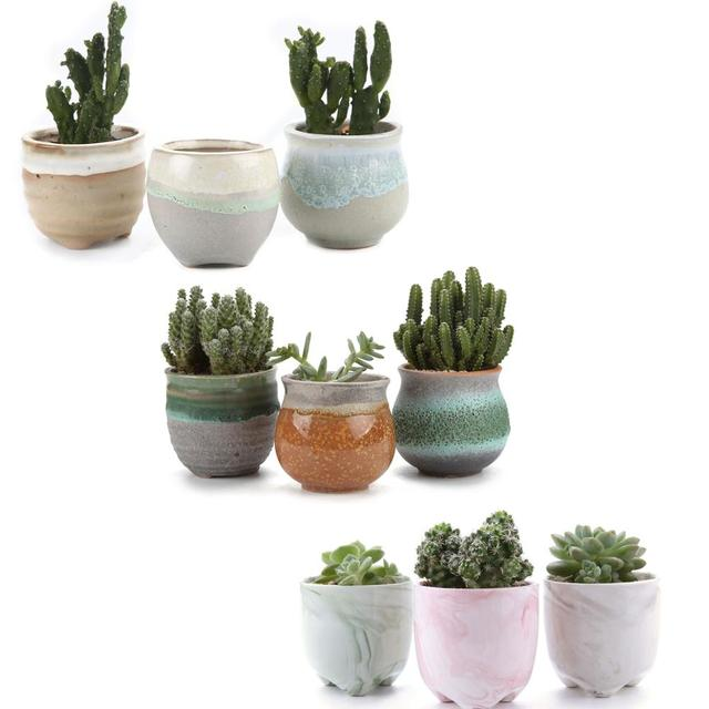 T4U Ceramic glaze flowerpot bonsai for Cactus 3pcs/lot