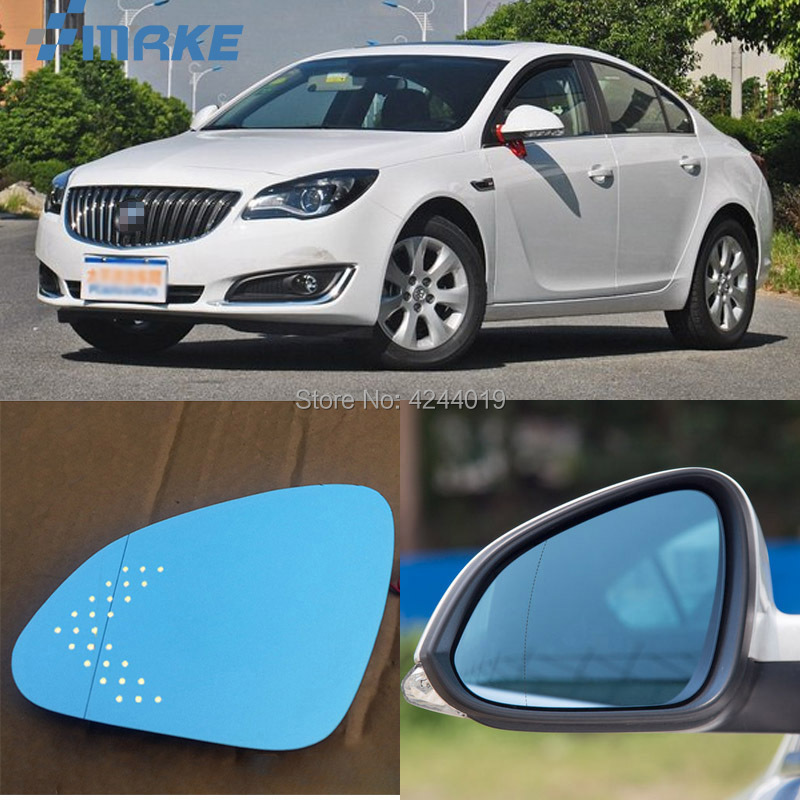 smRKE For Buick Regal Car Rearview Mirror Wide Angle Hyperbola Blue Mirror Arrow LED Turning Signal Lights