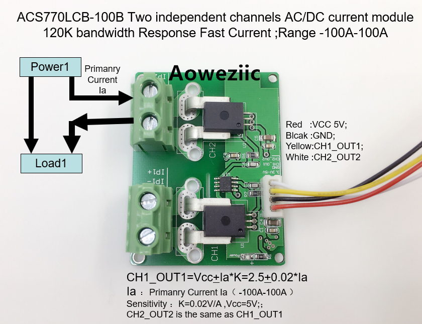 Aoweziic ACS770LCB-100B ACS770LCB ACS770 Two independent channels AC/ DC current detection module Rang:-100A-100A itead acs712 current sensor module dc ± 5a ac current detection module works w official arduino