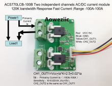 Aoweziic ACS770LCB-100B ACS770LCB ACS770 Two independent channels AC/ DC current detection module Rang:-100A-100A