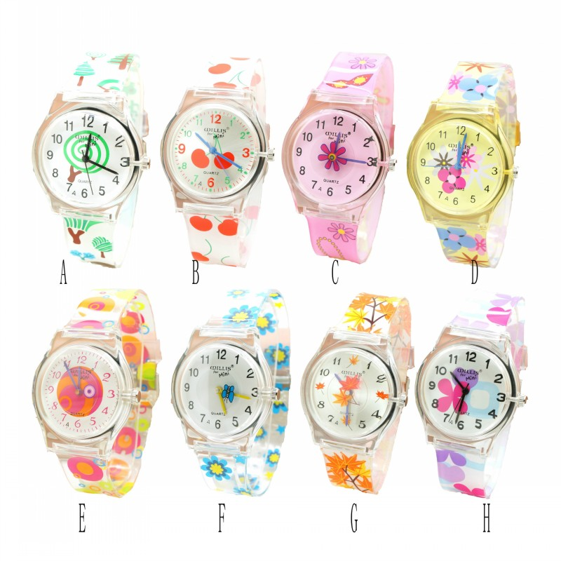 New Women Brand Flower Watch Quartz Clock Waterproof Wristwatch Silicone Fashion Girls Ultra Thin Band Watch Relogio Horlog