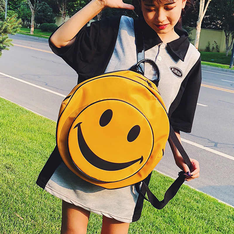 ETAILL bonita cara sonriente impresión grande mochila redonda para niñas mochila de Nylon Amarillo estudiantes bolsa de viaje estilo Preppy bolsa de escuela