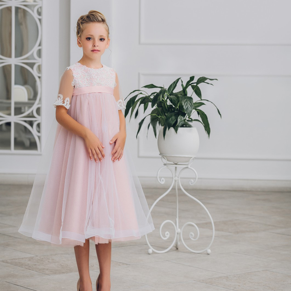 Pink Little Girl A-line Dress First Communion Half Sleeves Lace Appliques Ribbon Bow Zipper 0-12 Years Old For Christmas