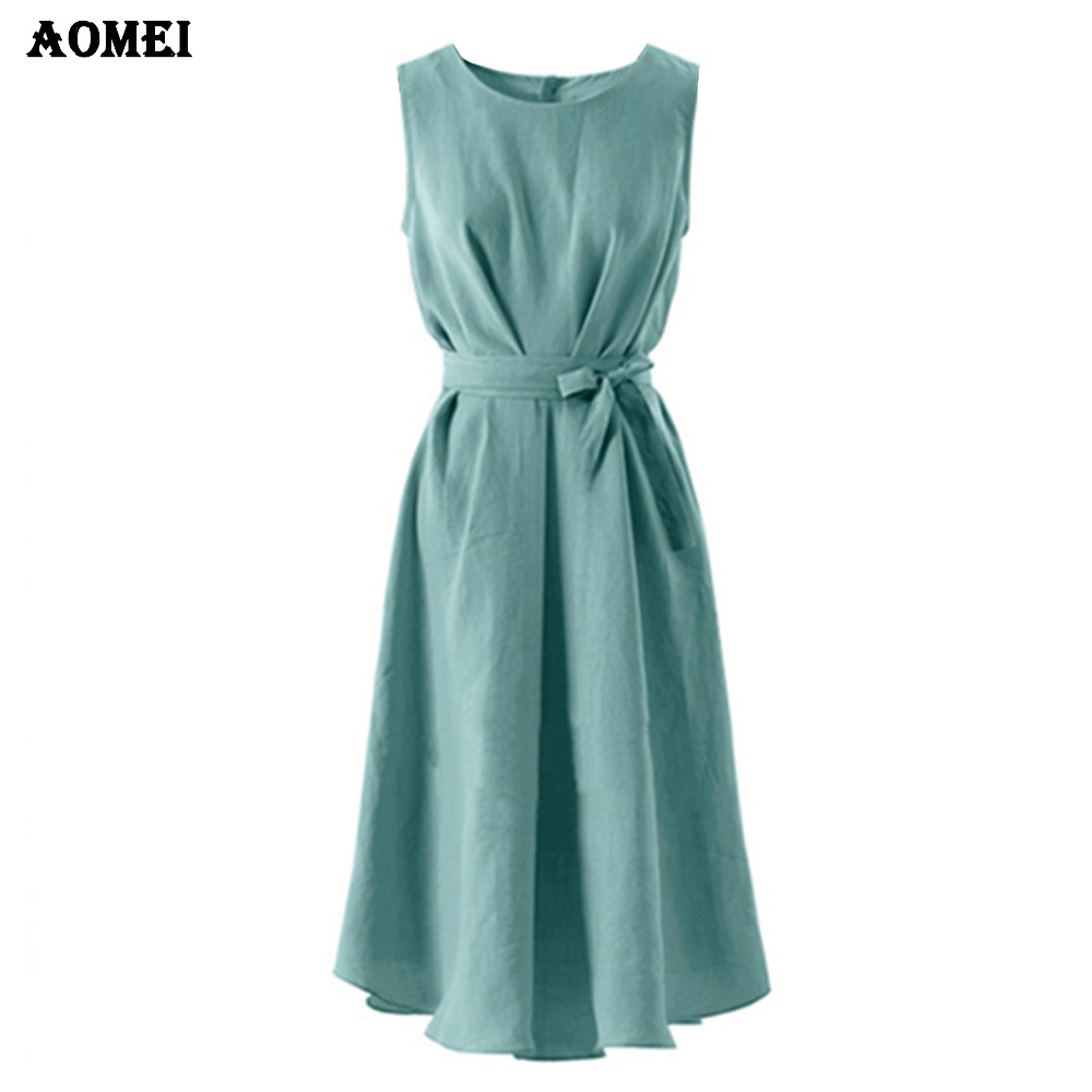 5f0377950d 2019 Woman Fashion Pleated Casual Soild Dresses Plus Size High Waist Long Dress  Sleeveless Summer Vestidos
