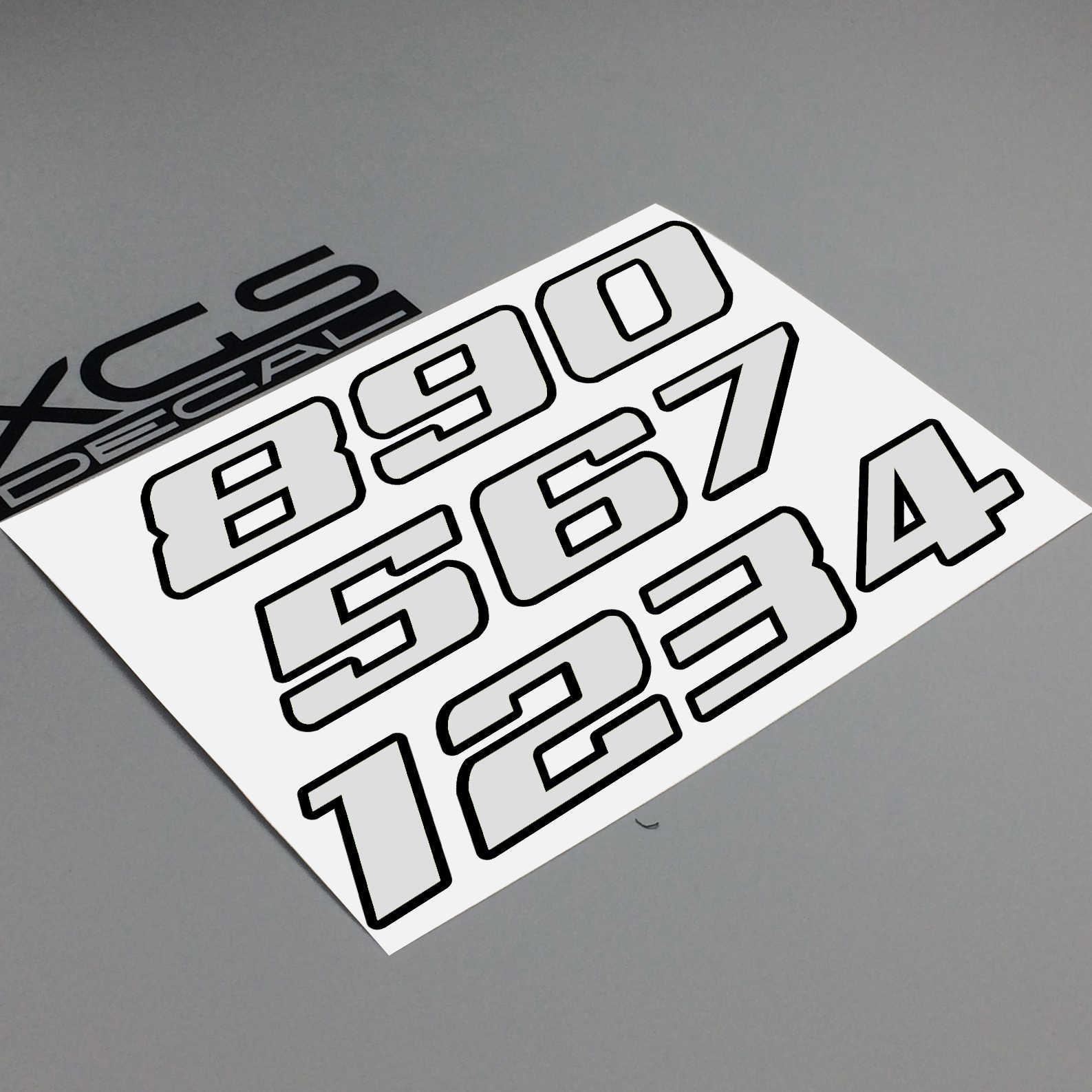 Xgs Stiker Mobil Stiker Nomor Neon Neon Double Layer Vinyl Cut Motor ATV Helm Stiker Outdoor Stiker