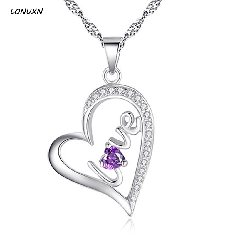 12 constellation pure 925 Sterling Silver Chain purple CZ love heart shape Pendants&Necklaces Jewelry Collar 2017 Retro love heart opening wings shape sweater chain