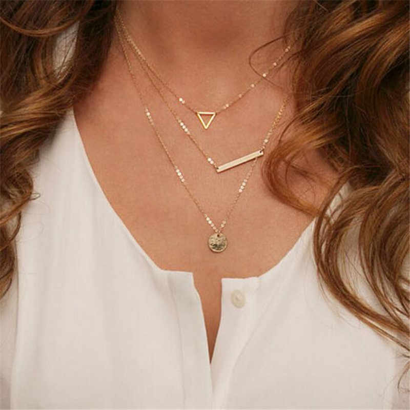 Multi Layer Necklace Gold New Style Fashion Street Shoot Wide Rods Sequins Hollow Triangle Necklace Pendants For Women ND39