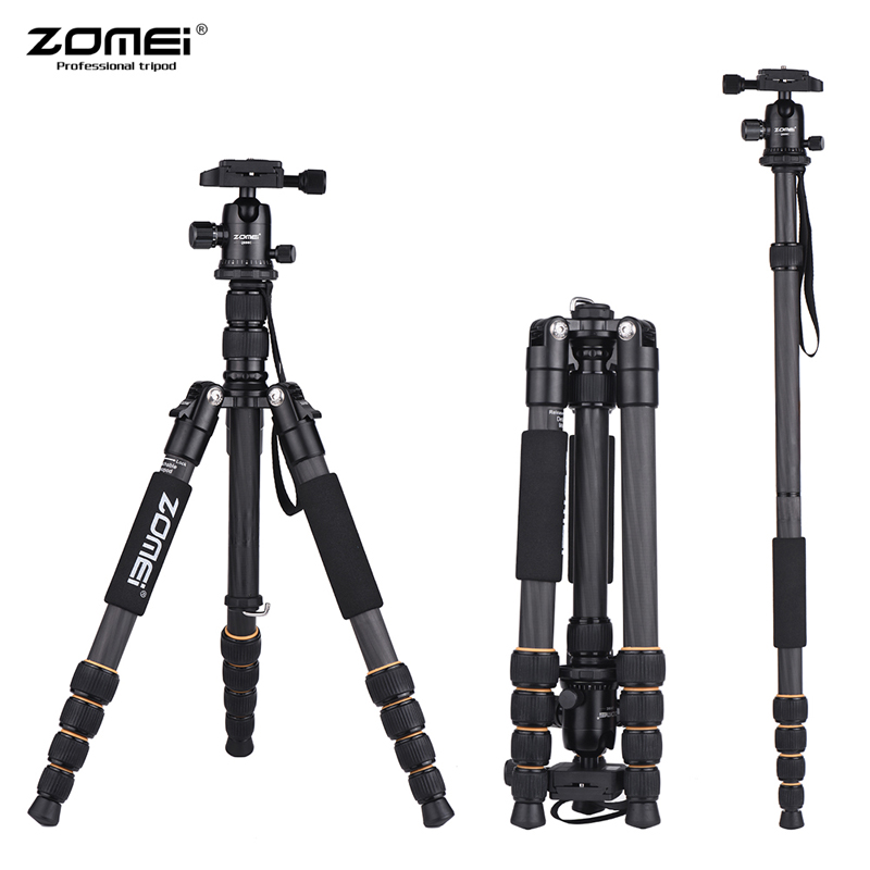 ZOMEI Q666C/Q555/Q100 Lightweight Tripod Monopod Travel Camera Tripod Quick Release Plate/Carry Bag For Canon Nikon Sony DSLR