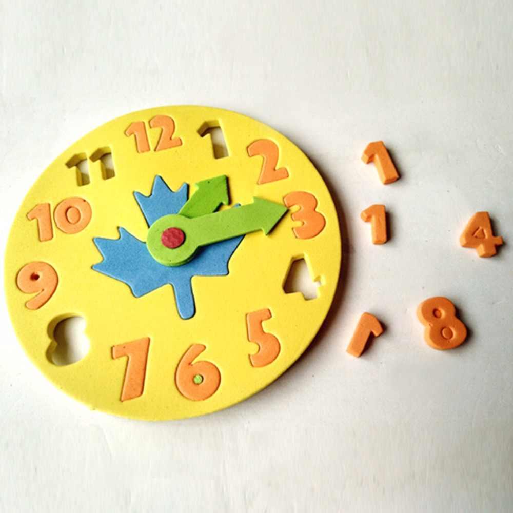 Zegar z pianki Kawaii wczesna edukacja zabawa puzzle jigsaw gra dla dzieci 3-6 lat 13*13cm zegar zabawki edukacyjne
