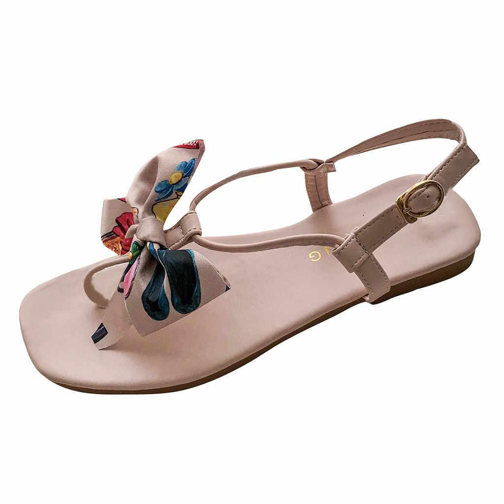 SAGACE 新ファッション女性の夏のサンダル蝶ノットフラット底のスクエアトゥの靴英国風フラットヒール王女靴月 4