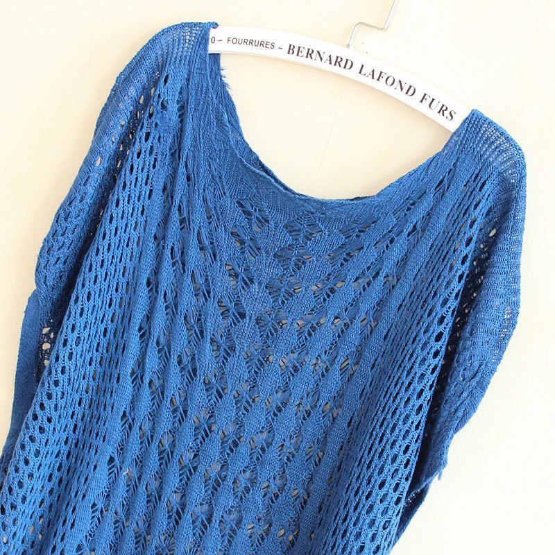 스웨터 여성 풀오버 2020 중공 니트 박쥐 슬리브 스웨터 느슨한 대형 솔리드 컬러 Vestidos MMY17104