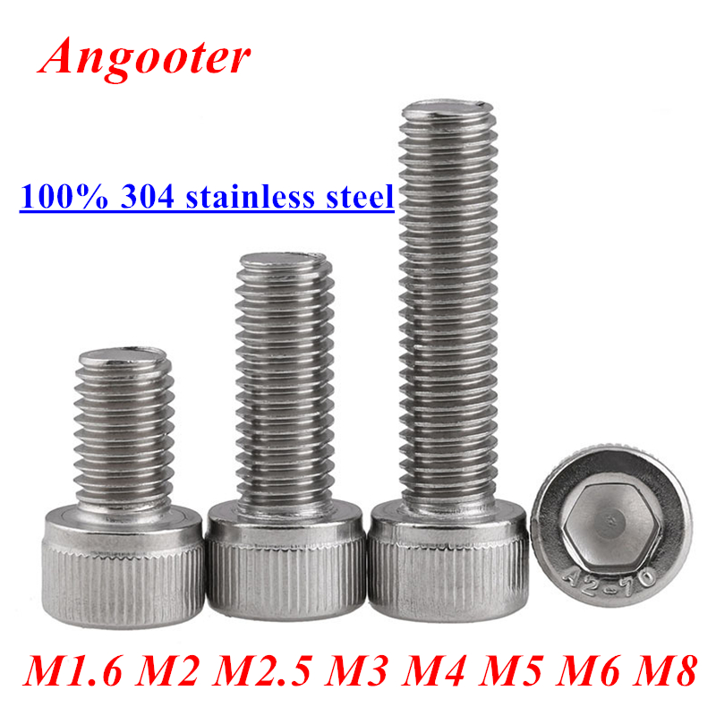 DIN912 Allen socket head screw 304 stainless steel M1.6 M2 M2.5 M3 M4 M5 M6 M8 Hexagon socket head cap screws hex socket screw