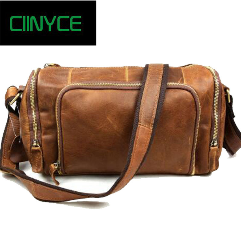 Brand Men's Fashion Vintage Genuine Cow Leather Crazy horse Hand Male Retro Popular Design Crossbody Travel Duffel Totes Bags