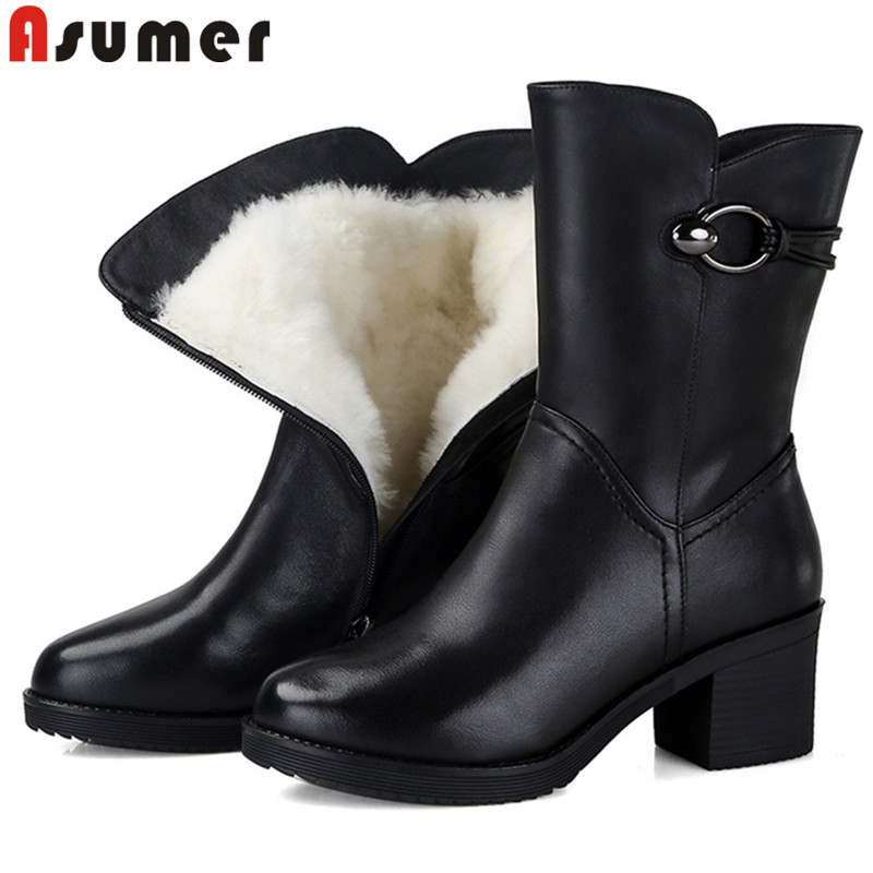 ASUMER big size 35-43 fashion winter snow boots women round toe zip genuine leather boots high heels ladies wool ankle boots women winter flats genuine leather round toe match colored buckle rhinestone fur fashion ankle snow boots size 35 39 sxq0826